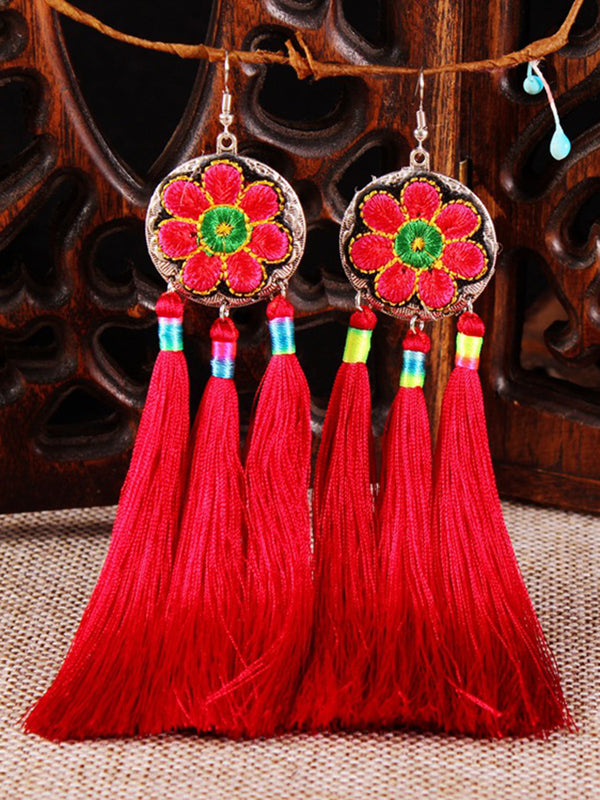 Vintage Women Floral Fringed Round Earrings