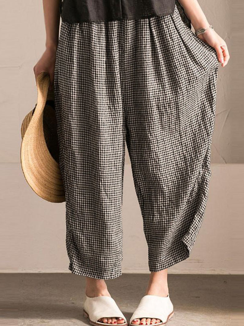 Casual Gingham Shift Printed Pockets Plus Size Pants