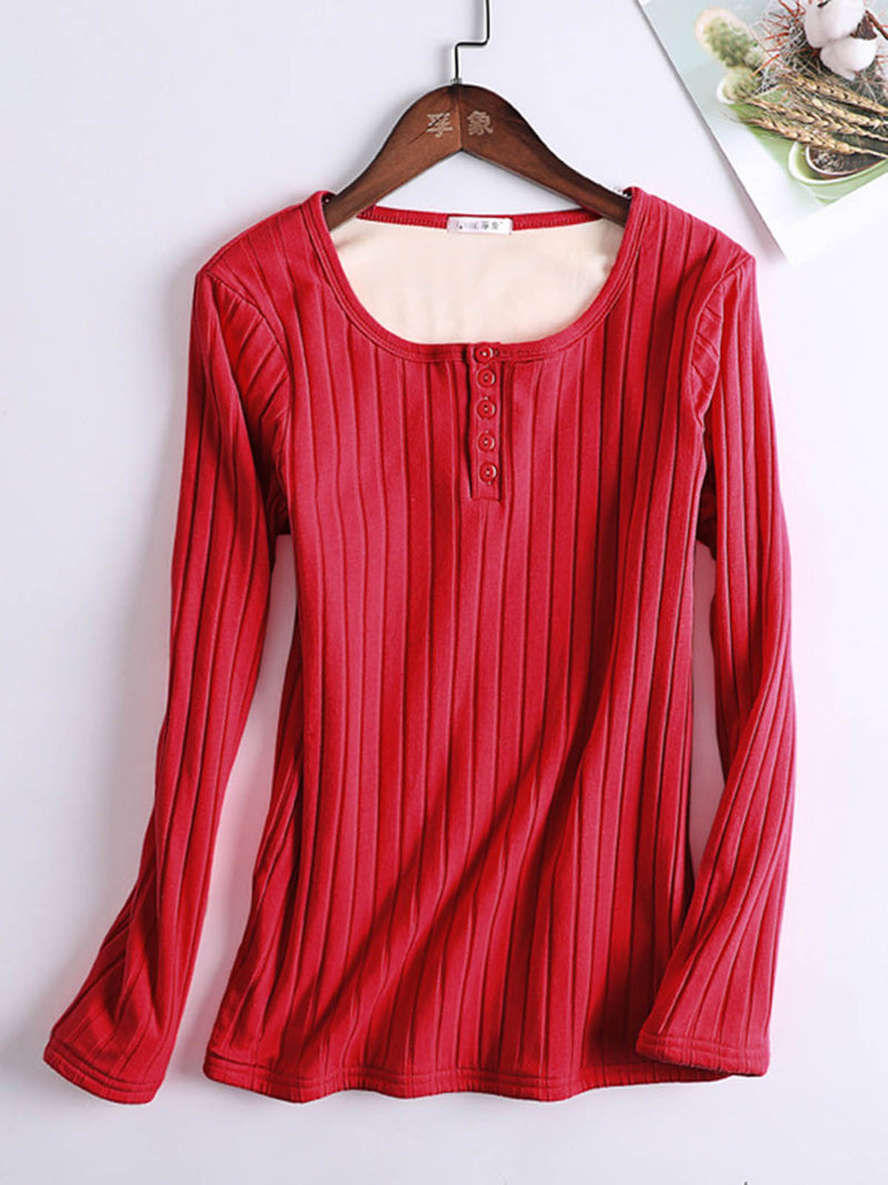 Long Sleeve Solid Buttoned Top