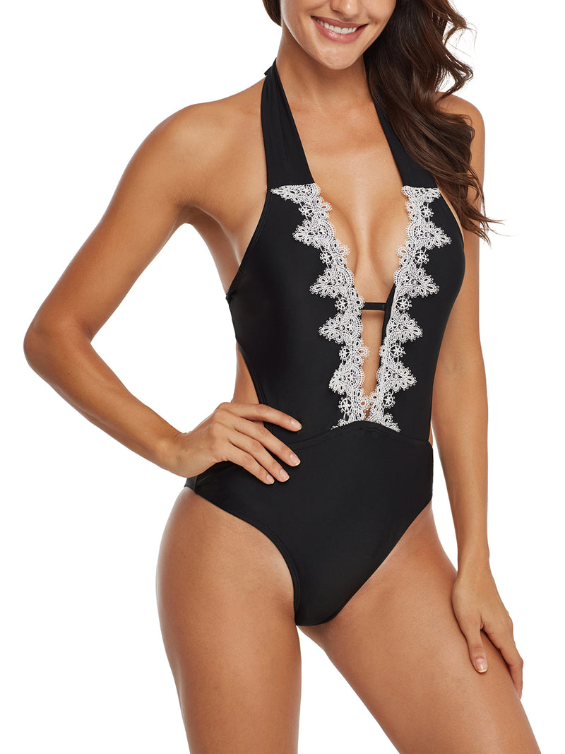 One-Pieces Black Sexy Lace One-Pieces