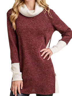 Casual Turtleneck Color-Block Top