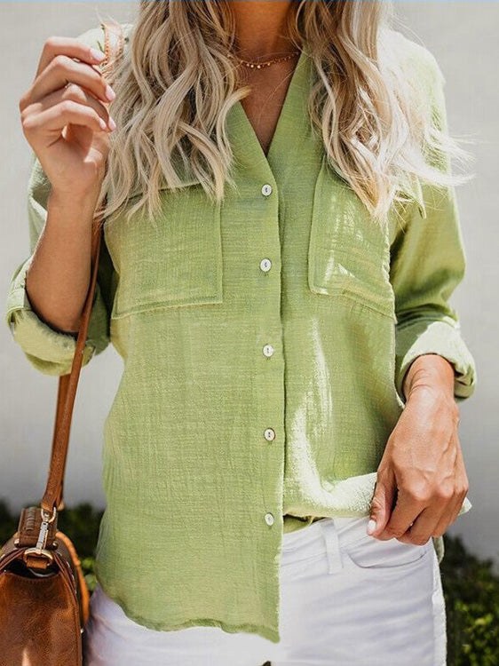 Women Cotton And Linen Long-Sleeved Blouse