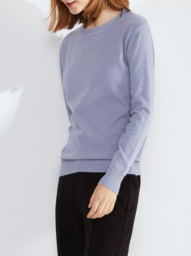 Crew Neck Pullover Knitted Sweater