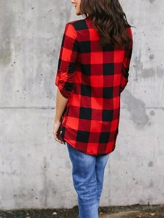 Tops Shirt Printed Casual Checkered/plaid Tops