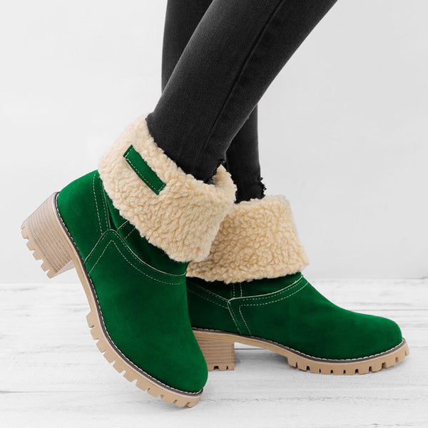 Women Warm Square Heels Ankle Boots