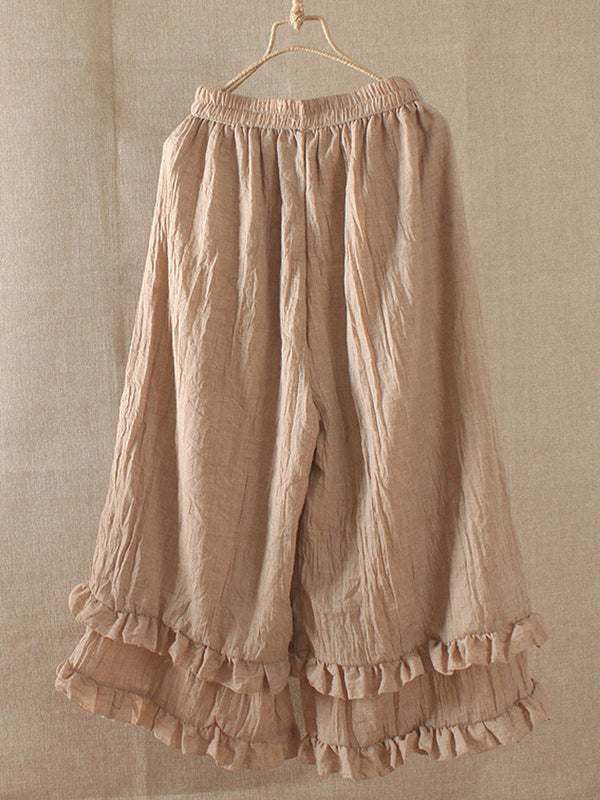 Woman Casual Solid Elastic Band Ruffled Cotton Pants