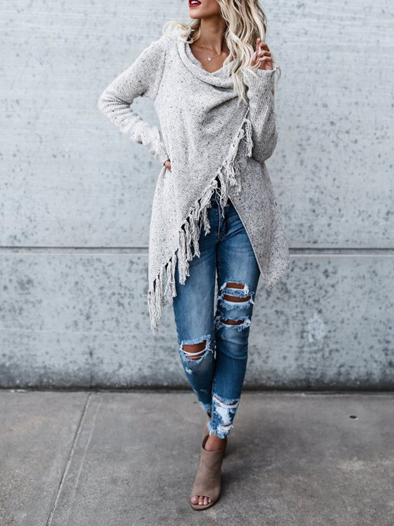 Cowl Neck Tassel Knitted Cardigan