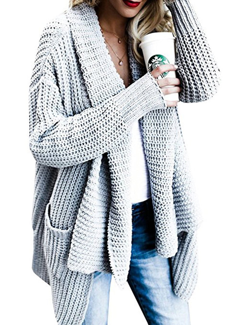 Casual Pockets Knitted Cardigan Sweater
