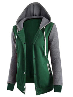 Casual Paneled Long Sleeve Cotton Hoodie