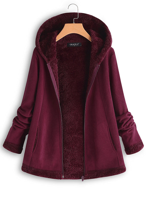 Hooded Zipper Pocket Long Sleeve Fleece Coats