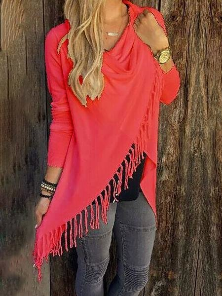 Asymmetrical Casual Long Sleeve Shirts & Tops