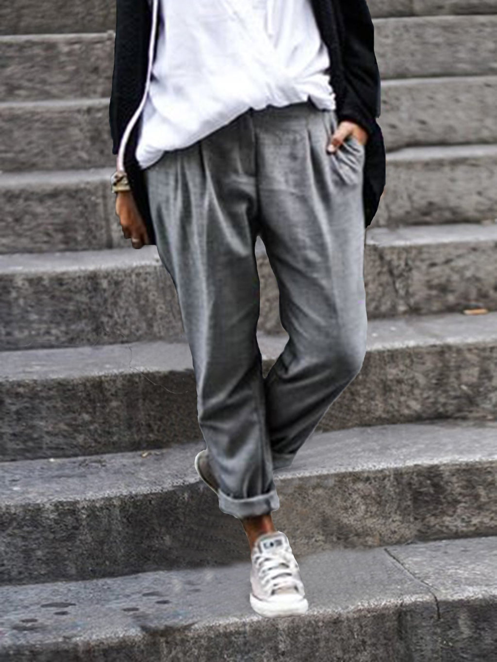 Woman Casual Solid Cotton-Blend Pants
