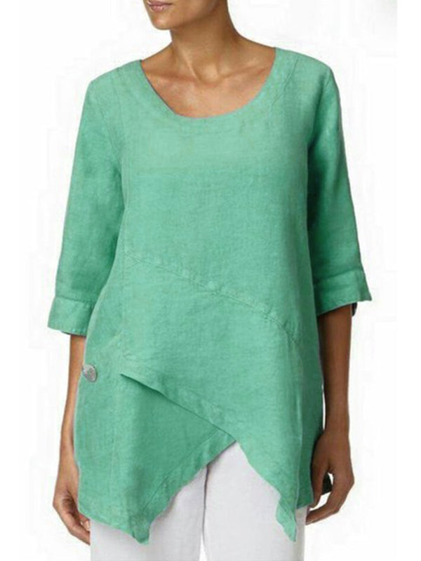 Women Plus Size 3/4 Sleeve Vintage Asymmetric Paneled Blouse