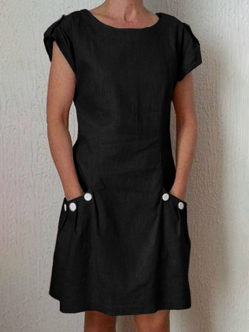 Women Summer Pockets Buttoned-decor Zipper Back Shift Linen Dresses