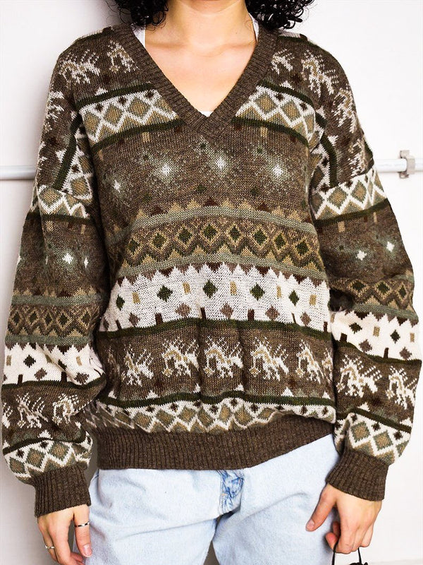 Green Boho Cotton Sweater