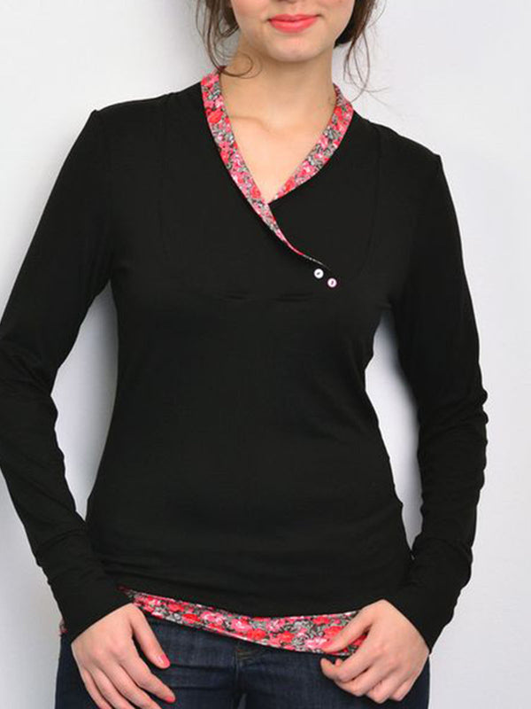 Black Buttoned Cotton-Blend Vintage Sweatshirt