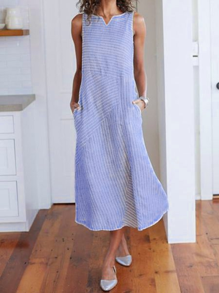Women Summer Dresses V Neck Light Blue Holiday Stripes Dresses