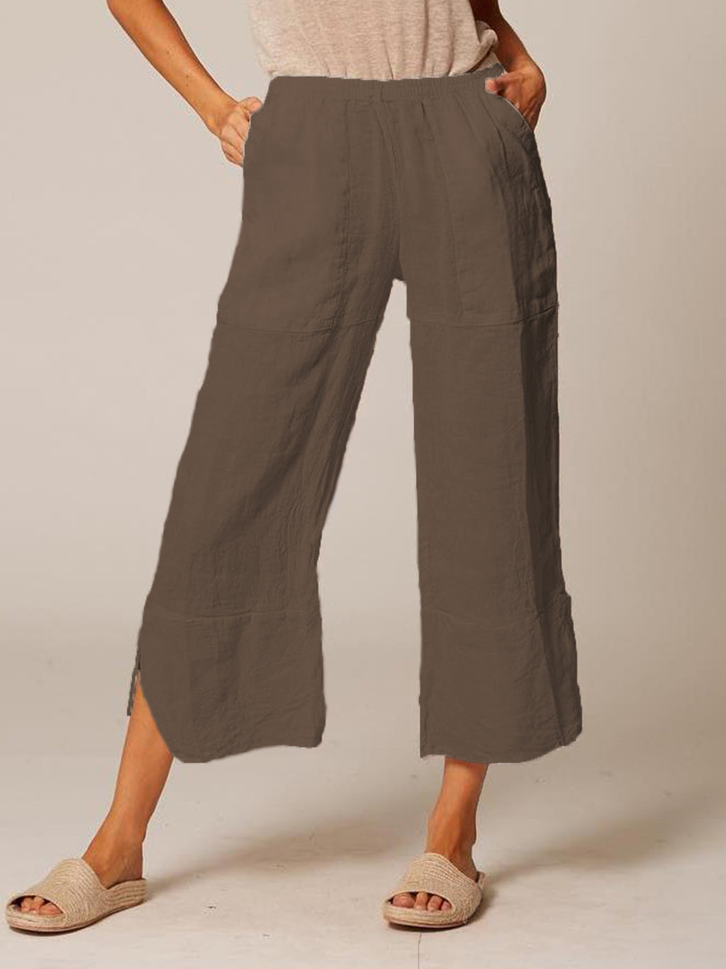 Women Plus Size Casual Pockets Solid Pants