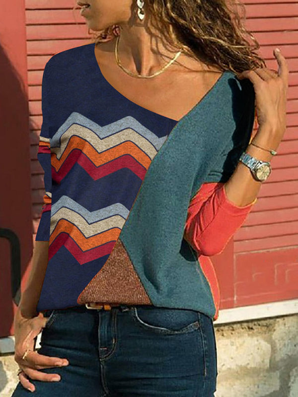 Long Sleeve Geometric Casual V-Neck Blouses