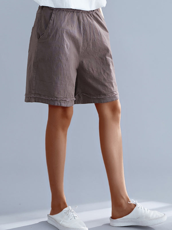 Plus Size Women Solid Loose Casual Elastic Waist Wide Leg Shorts