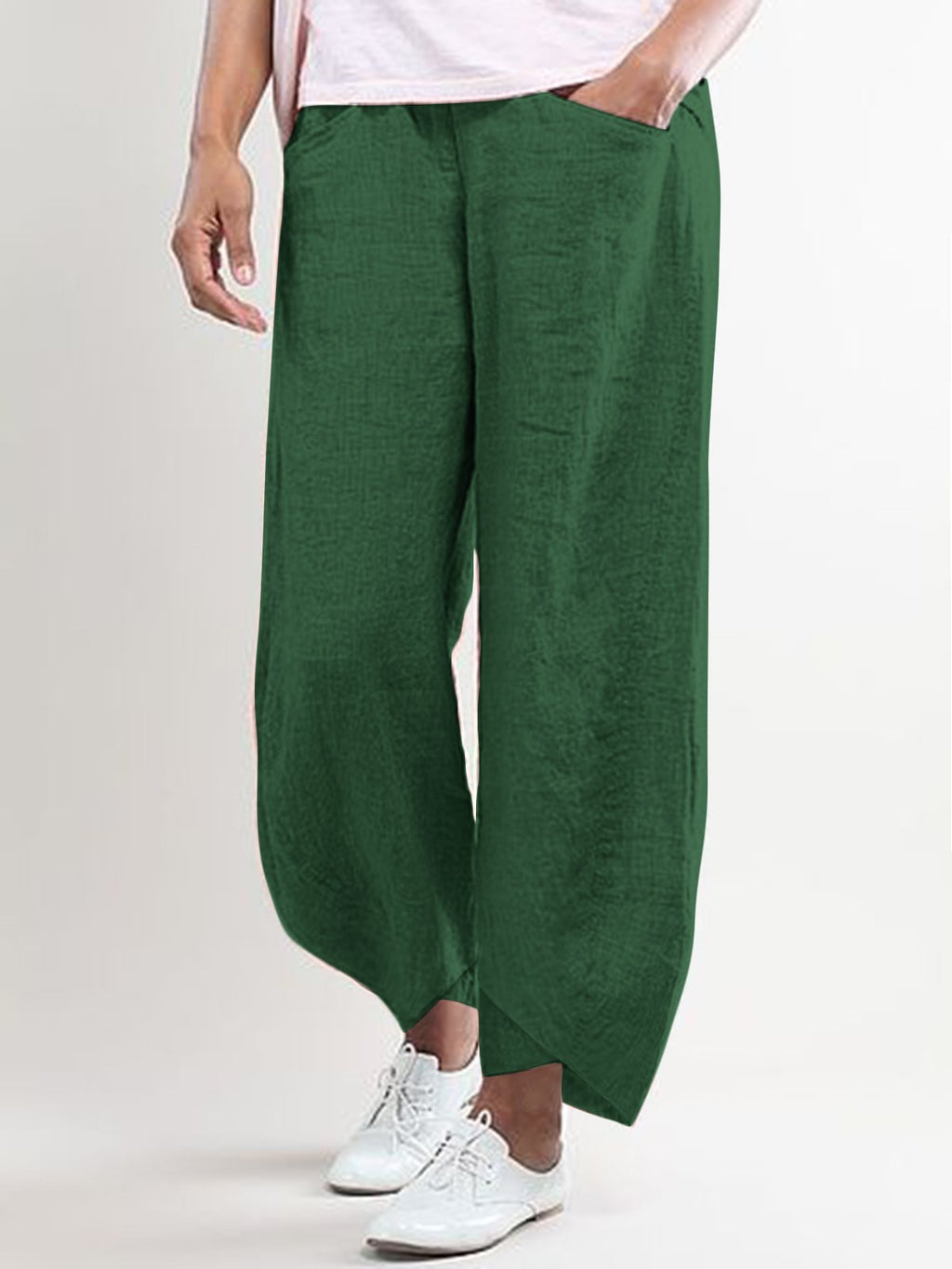 Women Casual Linen Solid Pants