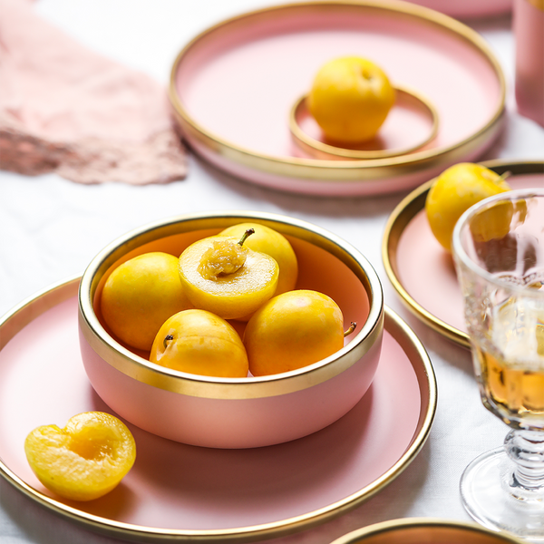 Nordic pink ceramic bowl with golden edges