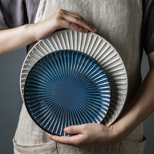 Blue ceramic plate with bevelled edge