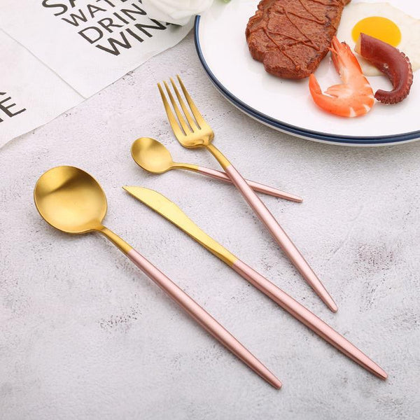 Round handle pink-gold color cutlery set