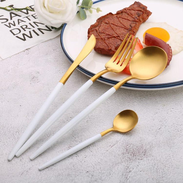 Round handle white-gold color cutlery set