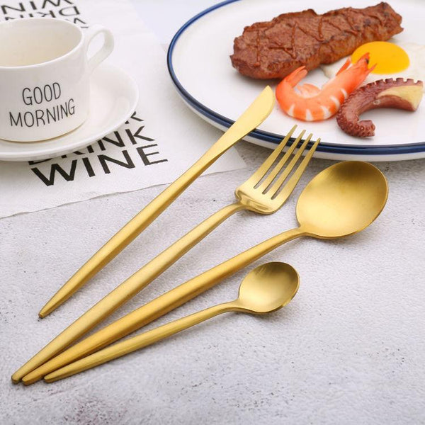 Round handle gold color cutlery set