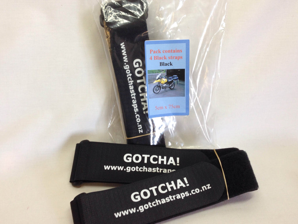 Gotcha Strap 5cmx75cm Downs for Luggage or Motorcycle  Black x 4 PACK