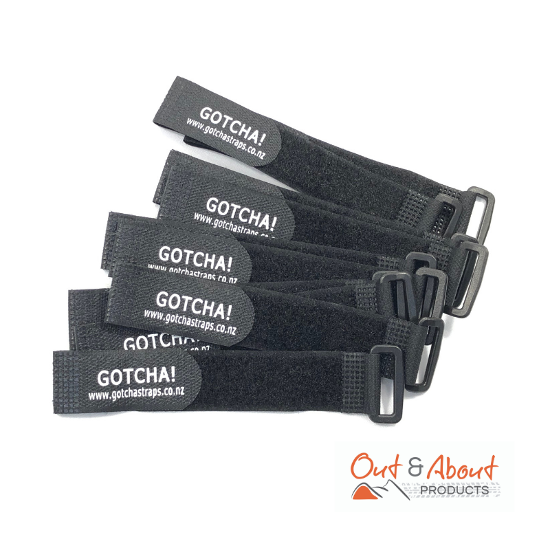 Gotcha Straps  2.5cmx20cm Downs Luggage Straps Motorcycle  Black x 10 PACK