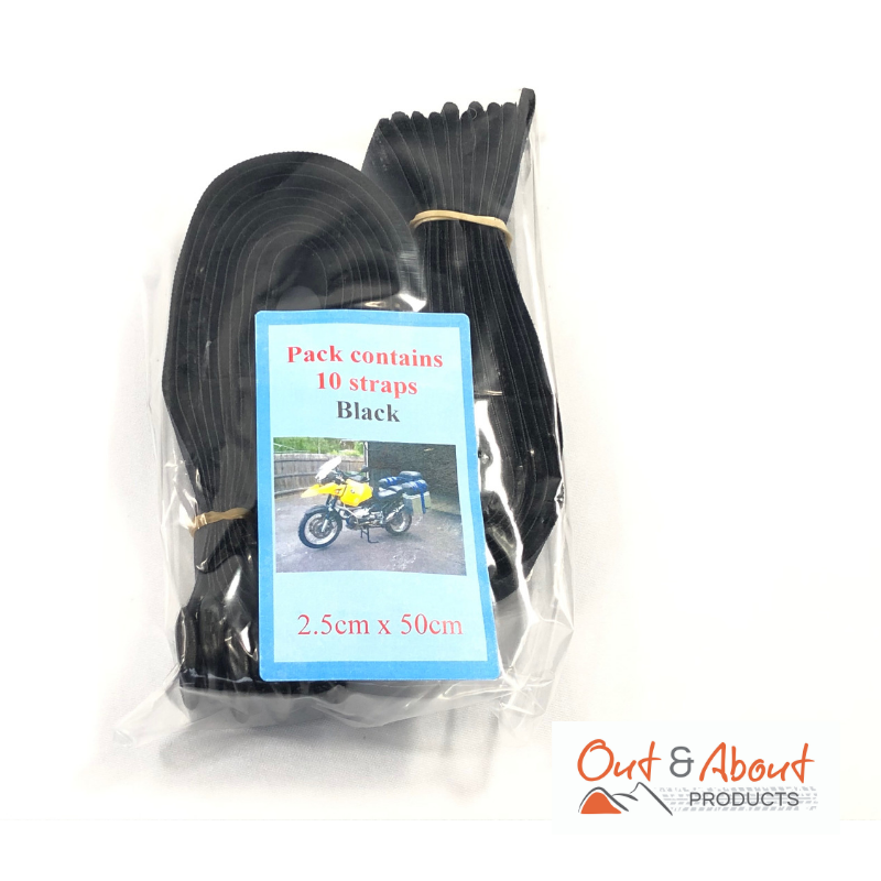 Gotcha Strap 2.5cmx50cm Downs for Luggage or Motorcycle Black x 10 PACKm