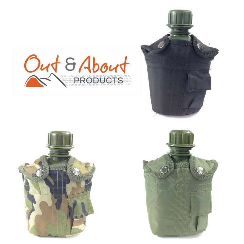 Water Bottle Canteen Kidney Shape With Olive Cover