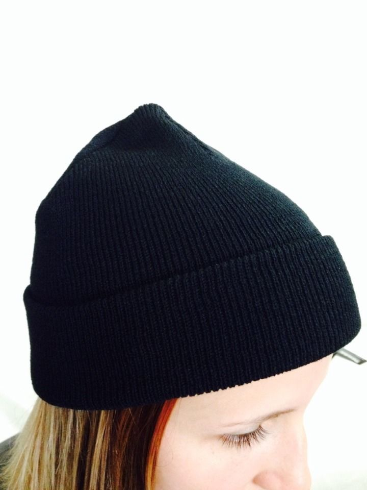 Beanie Acrylic Knitted Black One Size Fits All