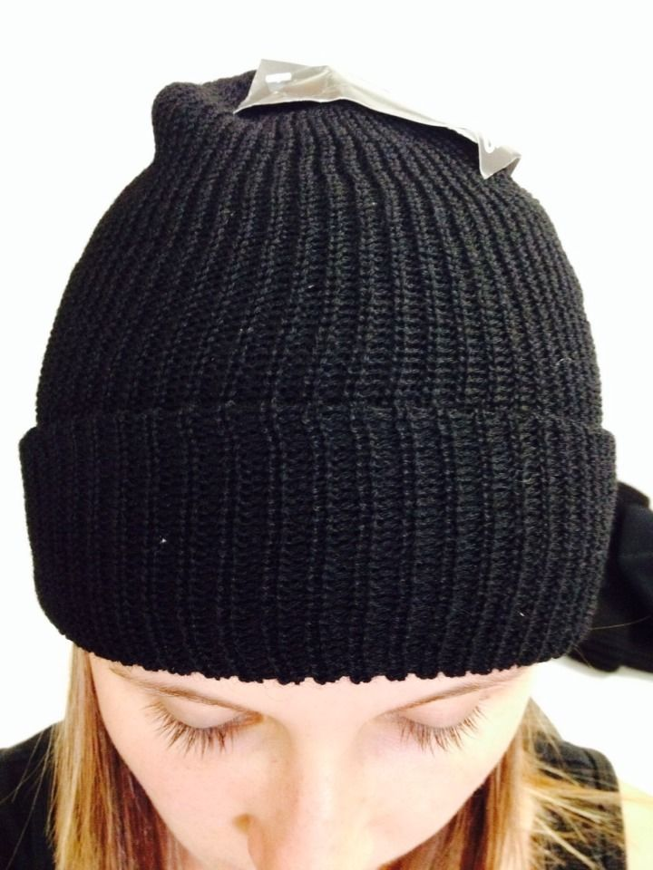 Beanie Woollen Double Knitted Black Outbound One Size Fits All