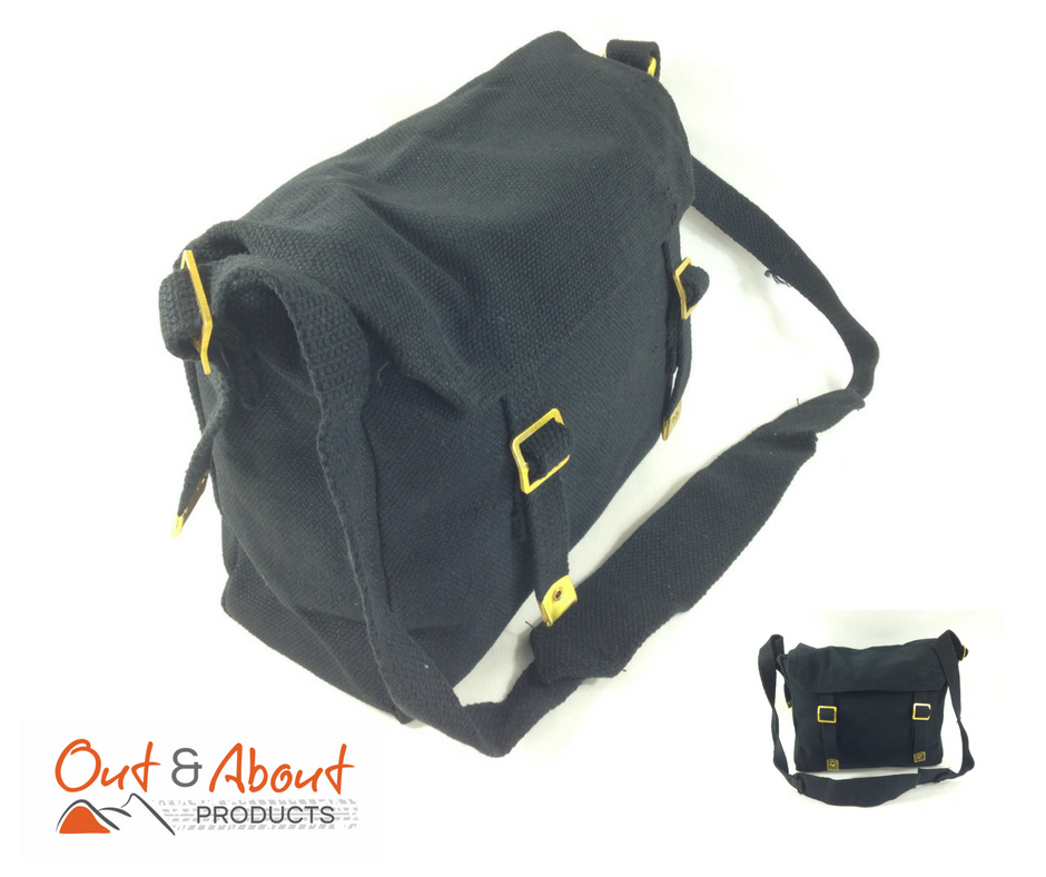 Canvas Messenger Shoulder Bag BLACK