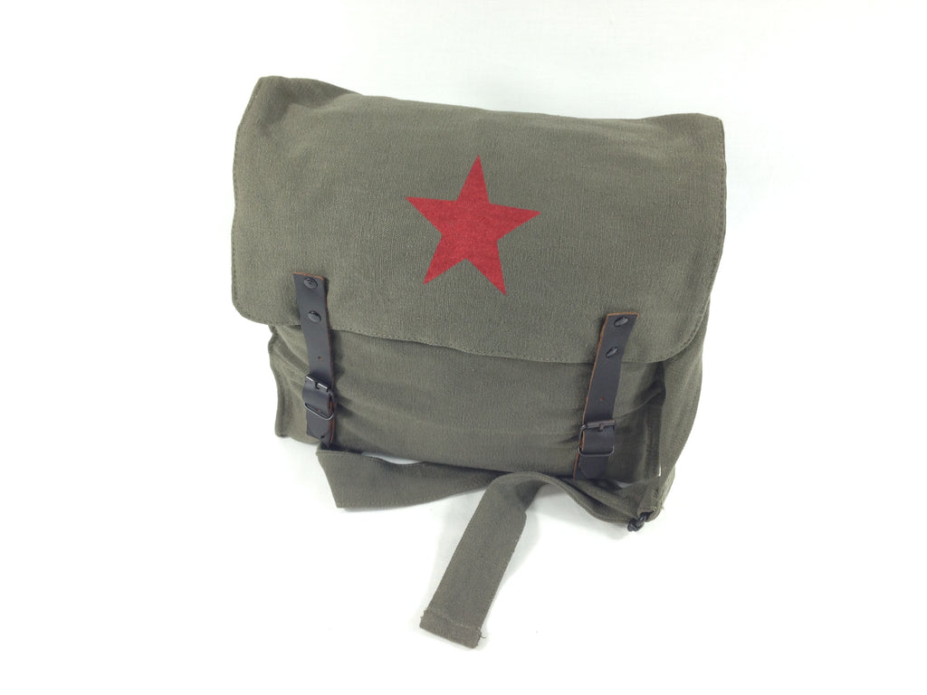 Canvas Shoulder Bag Vintage Medic OLIVE & Red Star