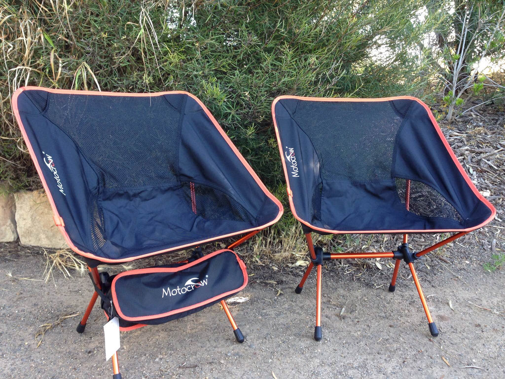 2 x Lightweight Outdoor Folding Standard Camp Chair Combo