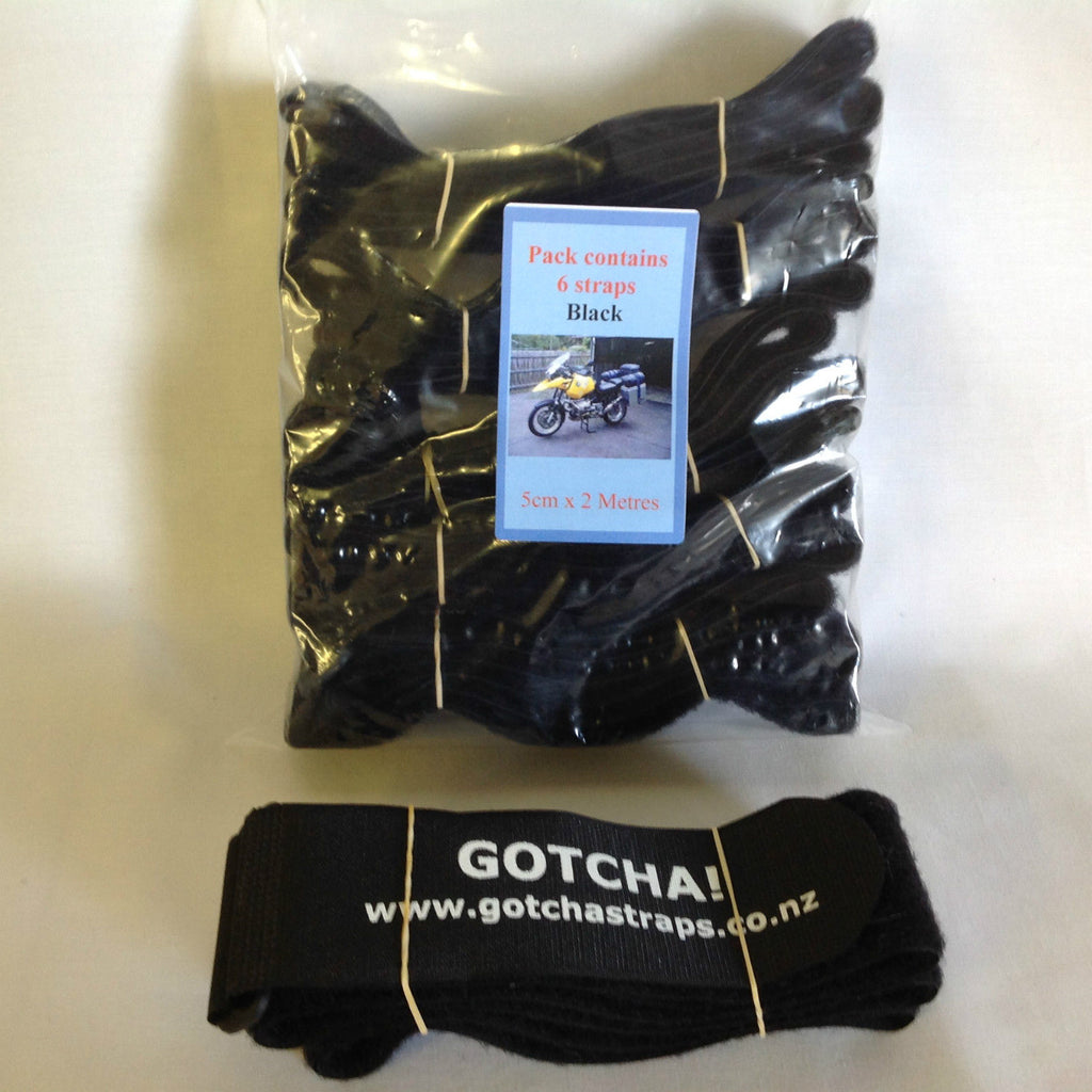 Gotcha Strap  5cmx2m Downs for Luggage or Motorcycle Black x 6 PACK
