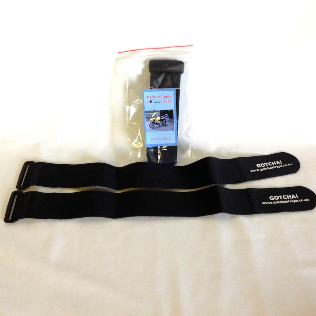 Gotcha Strap 5cmx50cm Downs for Luggage or Motorcycle  Black x 4 PACK