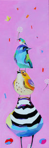 'Stacked Birdies' Canvas Reproduction by Lori Franklin