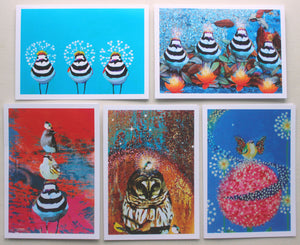 A Flock of 5 blank greeting cards