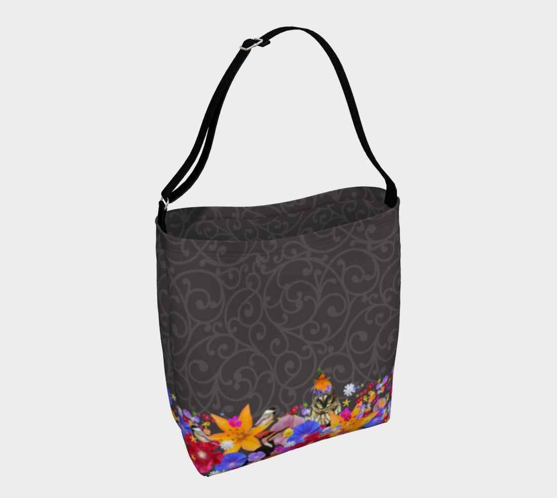 Charcoal Scroll slouchy tote