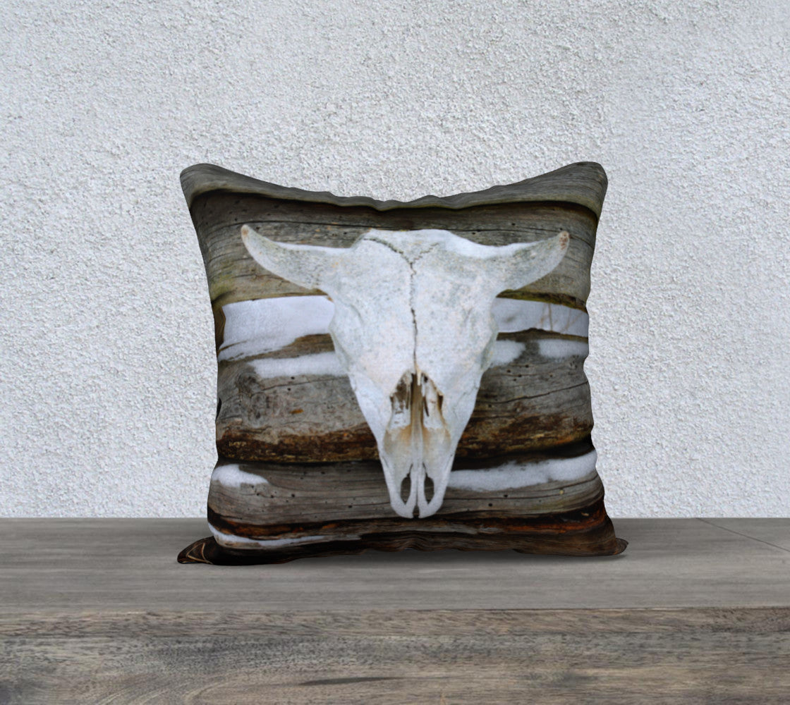 Driftwood Bison Skull pillow cover - square