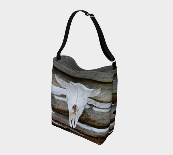 Driftwood Bison Skull slouchy tote
