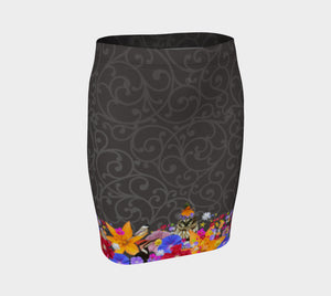 Charcoal Scroll fitted skirt