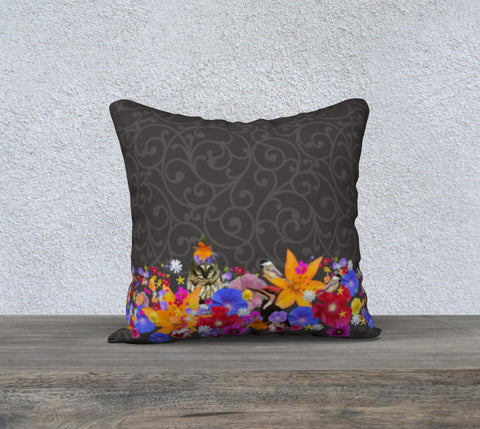 Charcoal Scroll zippered pillow cover - square
