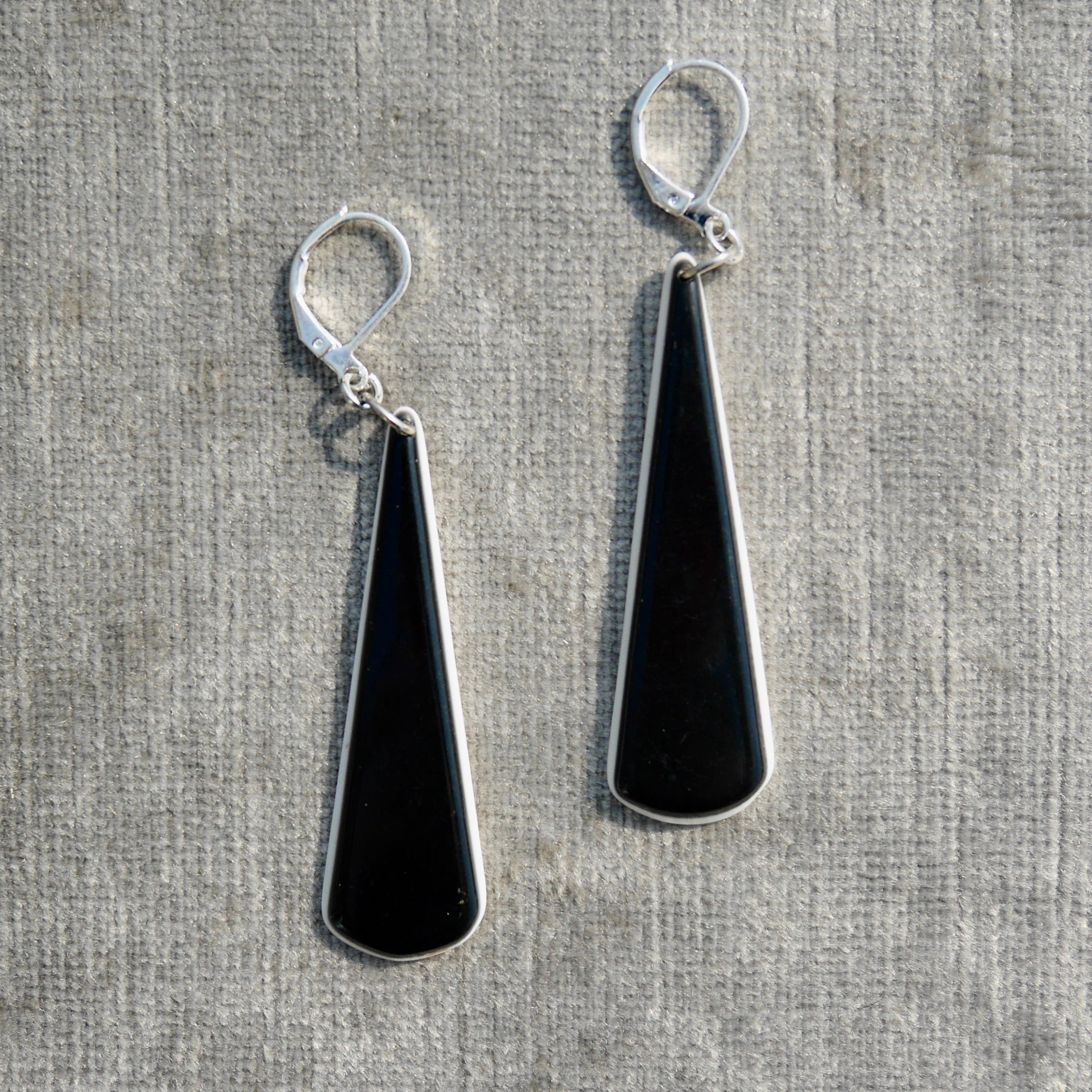 Upcycled 1980s Dangly Black and White Earrings