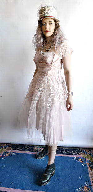 Vintage 1950s Pink Tulle Sweetheart Prom Dress, Sz M